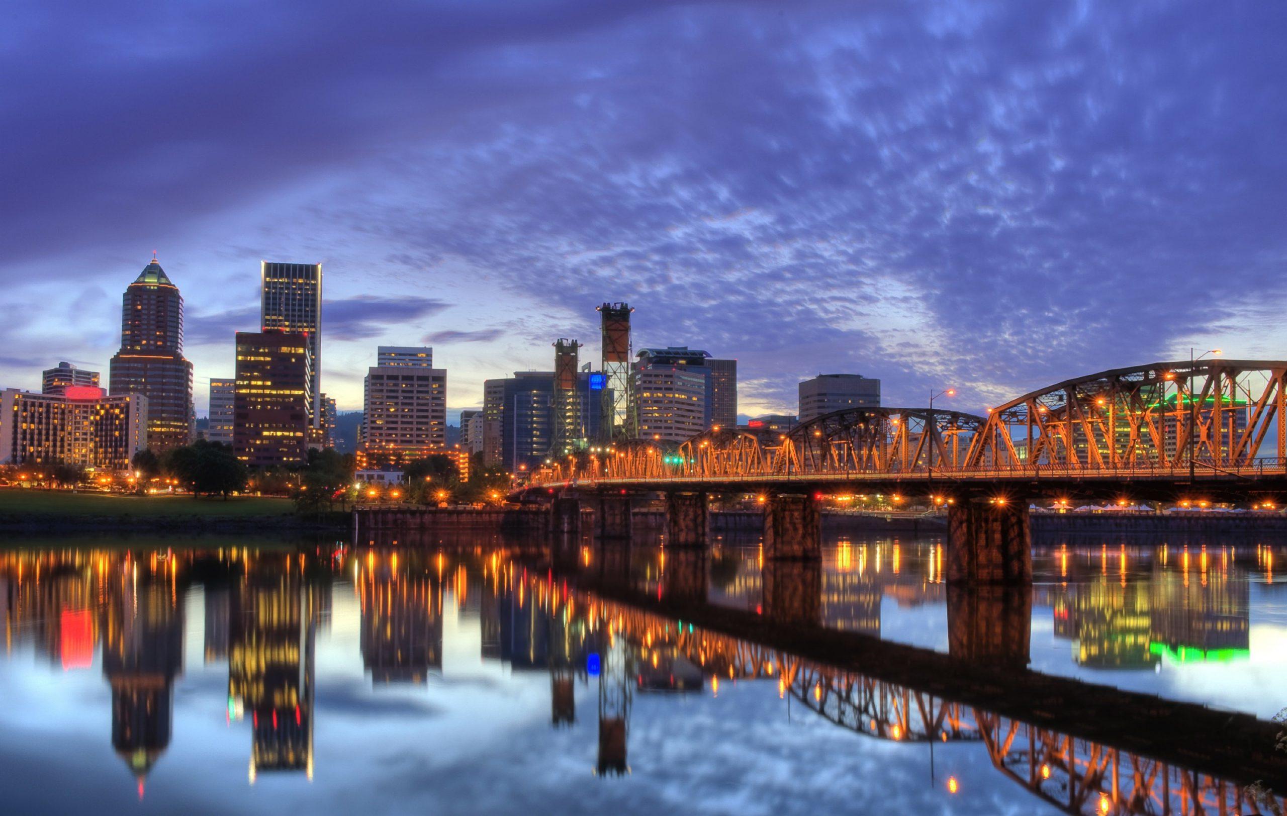 Downtown Portland Oregon River and Bridge View