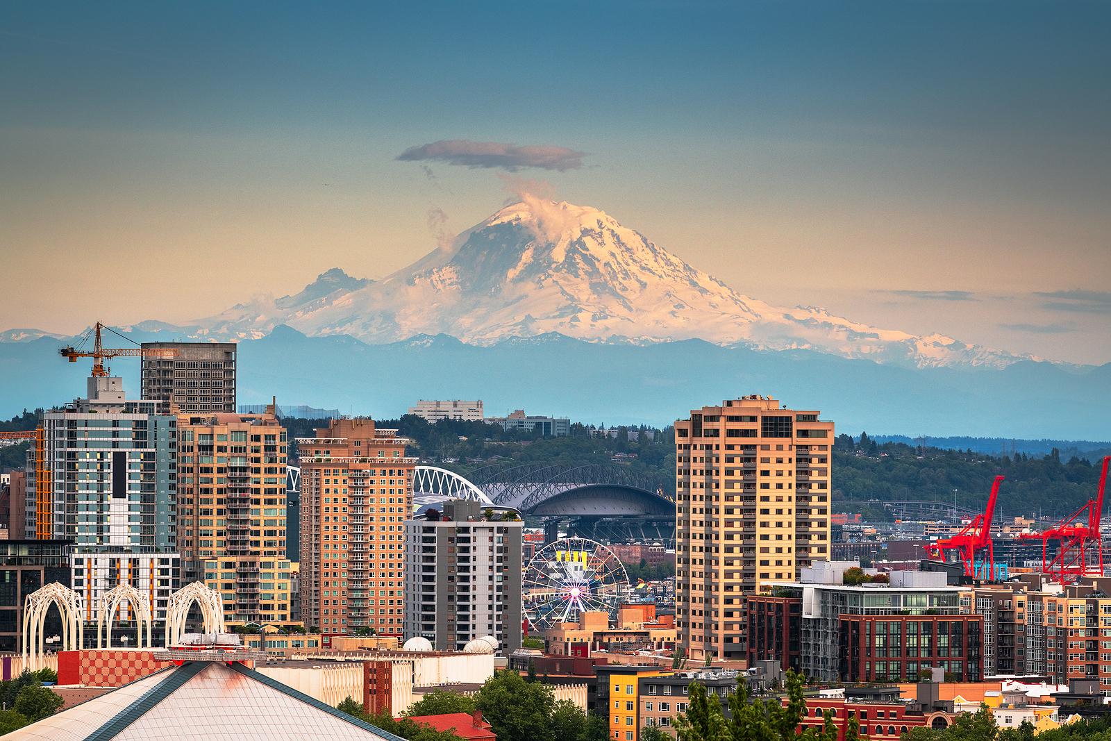 Seattle Skyline Mt. Rainier Viewed From Skyline of Seattle Washington